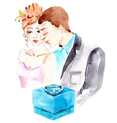 Watercolor couple in love vector image vector image