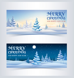 winter greeting horizontal banners vector image