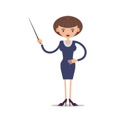 Women school teacher with a pointer in vector