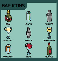 bar color outline isometric icons vector image