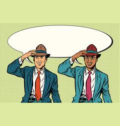 joyful white and black businessmen in retro hats vector image vector image