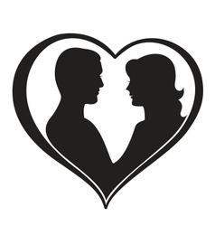 Man and Woman Silhouette in Heart Shape vector image