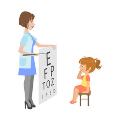 Ophthalmologist checking little girl eyesight vector