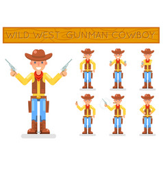wild west american retro gunman cowboy flat design vector image vector image