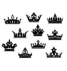 Black heraldic crowns set vector