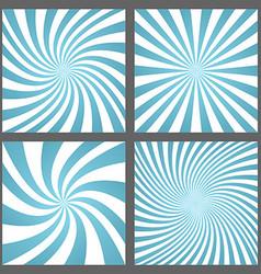 Light blue spiral and ray burst background set vector image