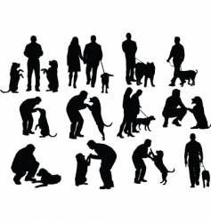 man with dog vector image vector image