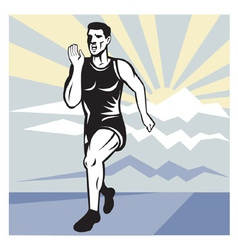 marathon road runner jogger fitness trai vector image