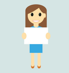 woman with blank sign vector image