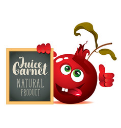 banner for fresh juice with funny pomegranate vector image
