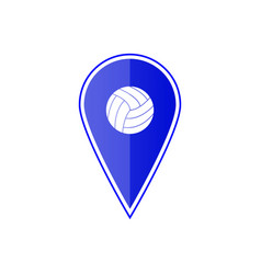 blue map pointer with volleyball ball vector image vector image