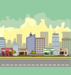 city street with urban buildings and shops vector image