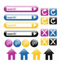 colorful glossy web buttons vector image