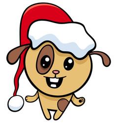 dog on christmas cartoon vector image