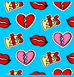 lips hearts and kiss patches seamless pattern vector image vector image