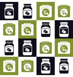 olives jar and can seamless pattern vector image