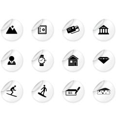 Stickers with Switzerland symbols vector image vector image