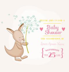 baby girl kangaroo holding flower - baby shower vector image vector image