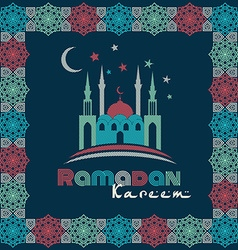 Greeting Card design with silhouette of mosque and vector image vector image