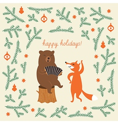 Greeting Christmas card a bear and a cute fox vector image vector image