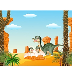 Happy Mother dinosaur with baby hatching vector image