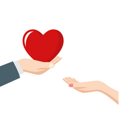 man giving heart to a woman vector image