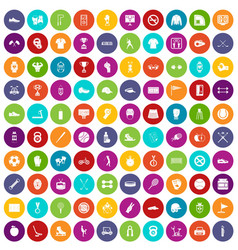 100 sport equipment icons set color vector image
