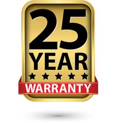 25 year warranty golden label vector