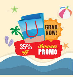 35 off summer sale promotion shopping bag icon vector