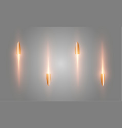 A flying bullet with a fiery trace isolated on a vector