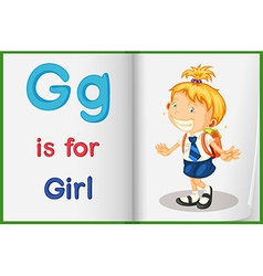 A picture of a girl in a book vector image