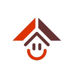 abstract home smile logo icon vector image