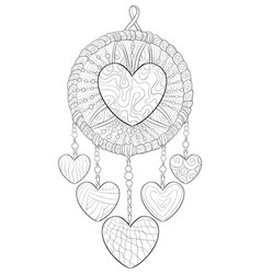 Adult coloring bookpage a cute dreamcatcher image vector