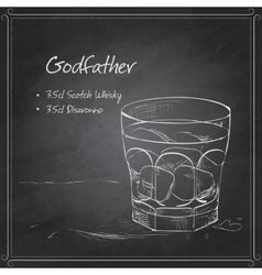 Alcoholic Cocktail Godfather on black board vector