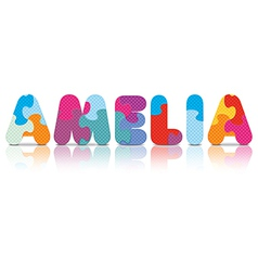 Amelia written with alphabet puzzle vector
