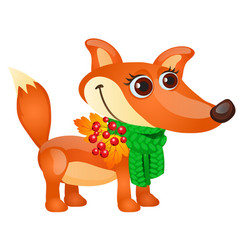 autumn sketch with cartoon fox with green scarf vector image