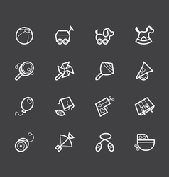 baby toys white icon set on black background vector image