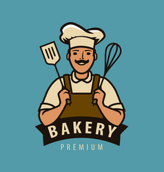 bakery logo or label happy chef in hat vector image