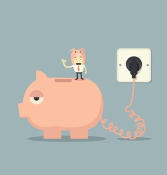 Battery charger piggy bank vector