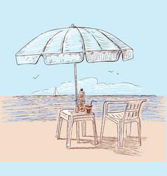Beach umbrella on seashore vector
