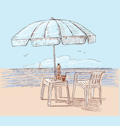 Beach umbrella on the seashore vector