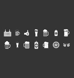 beer icon set grey vector image