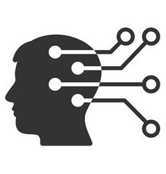 Brain interface circuit icon vector