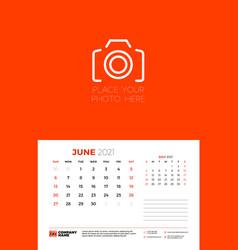 Calendar for june 2021 week starts on sunday wall vector