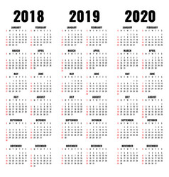 Calendar template 2018 2019 and 2020 years vector