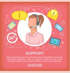 Call center concept support listen cartoon style vector