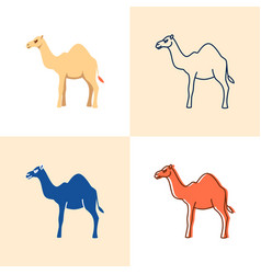 camel icon set in flat and line style vector image