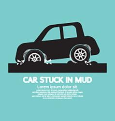 Car stuck in mud vector