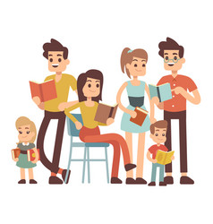 cartoon character kids and adults with books vector image