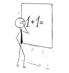 Cartoon of businessman calculating on wall board vector